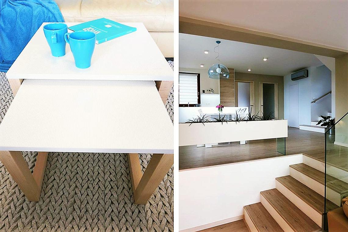 Obývací pokoj – detail vlněného koberce a truhlík na pokojové rostliny na skleněné noze
