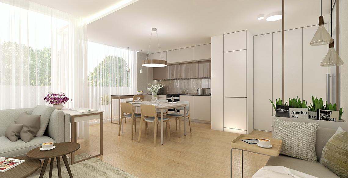 Obývací pokoj s kuchyní – místnosti dominují materiály v přírodních barvách a dřevěná podlaha