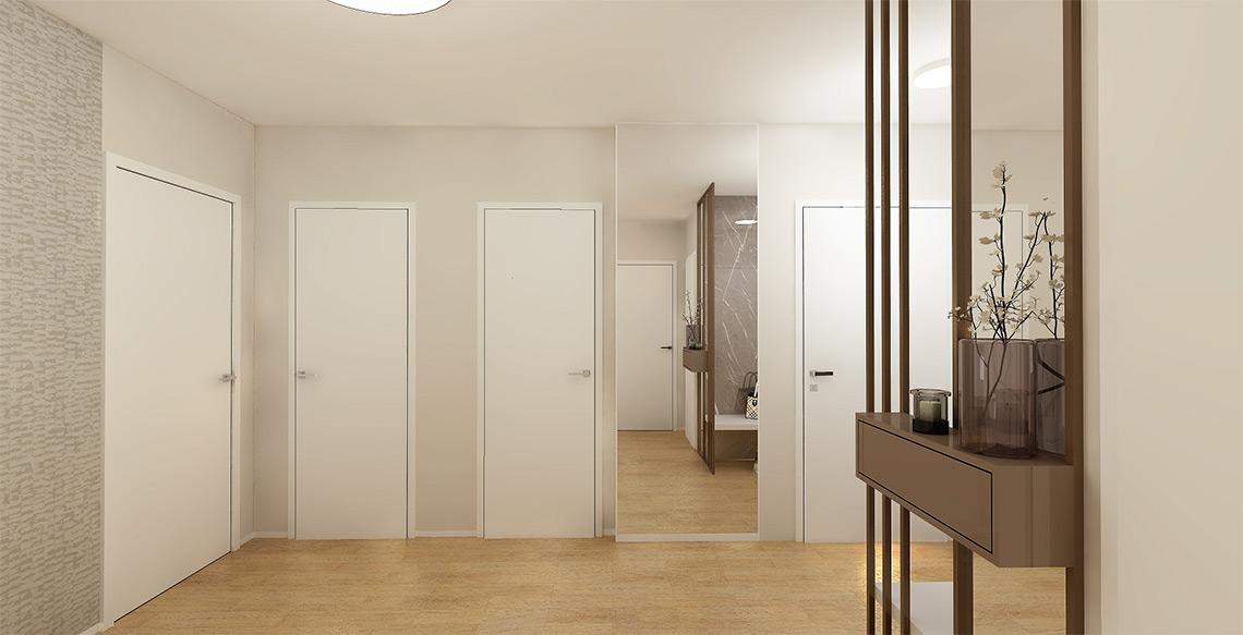 Ze zádveří vedou dveře do všech místností, které jsou neprůchozí, jedná se tedy o ideální dispoziční uspořádání