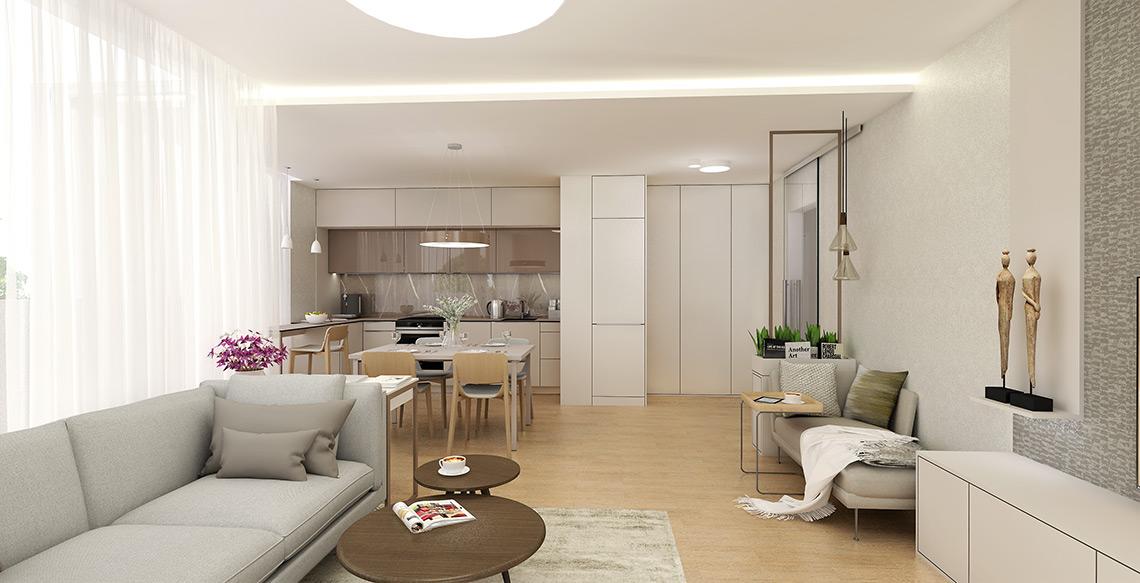 Návrh obývacího pokoje s kuchyní – součástí místnosti je čtecí koutek s lenoškou