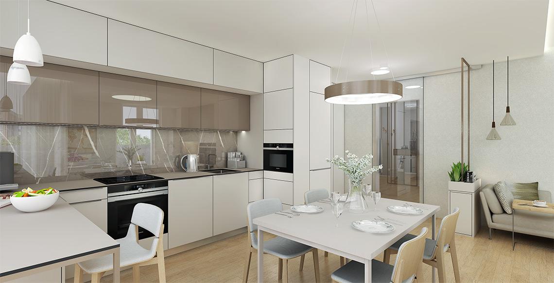 Kuchyňský kout má dostatek úložných prostor a jídelní židle TON Leaf byly přáním majitelů