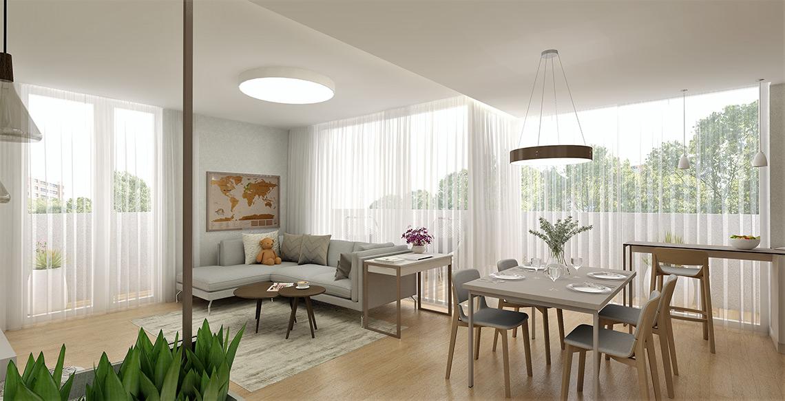 Obývací pokoj s kuchyní – velká okna zjemňují záclony, navazující barové sezení funguje jako příležitostný pracovní koutek s výhledem