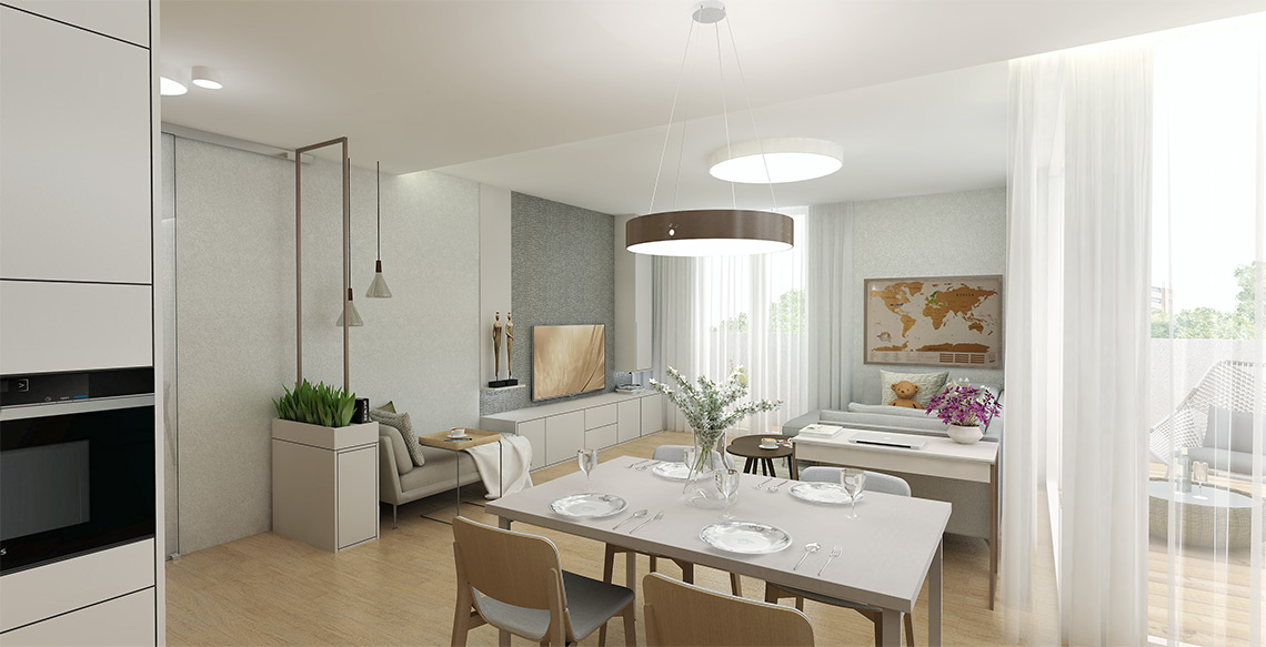 Návrh obývacího pokoje – TV stěna je jednoduchá a funkční, na ni navazuje vysněný čtecí koutek s lenoškou