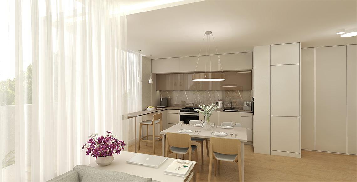 Kuchyň s jídelním stolem – dominantou jsou velká kruhová svítidla, přisazená i závěsná, subtilní osvětlení je nad barem