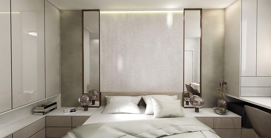 Ložnice – za postelí je výrazný 3D panel, který po nasvícení vytváří zajímavý plastický efekt a příjemné náladové osvětlení