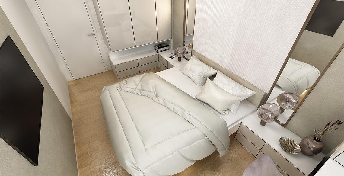 Návrh ložnice – dlouhou místnost opticky zkracují svislé dělící prvky, barevnost je jemná, klidná, vhodná pro odpočinek