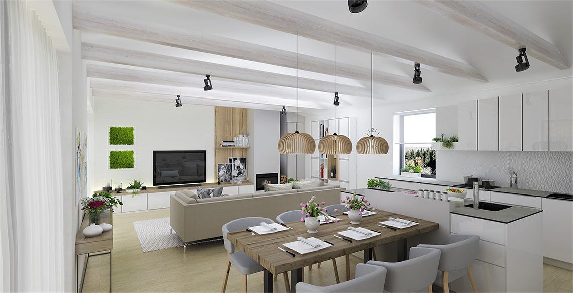 Obývací pokoj s kuchyní – hlavní materiálovou kombinací v celém domě je bílá, šedá a dřevo