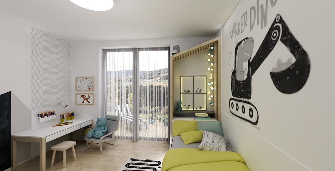 Dominantou dětského pokoje je domečková postel, která vytváří intimní koutek na usínání, také díky dekoračnímu osvětlení s tlumenou intenzitou