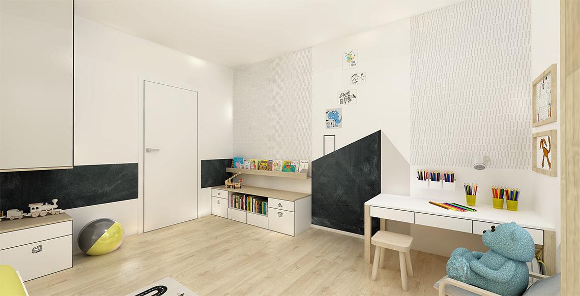 Dětský pokoj – úložné prostory jsou koncipovány jako rostoucí, v průběhu let můžeme ještě přidat další skříňky na stěnu