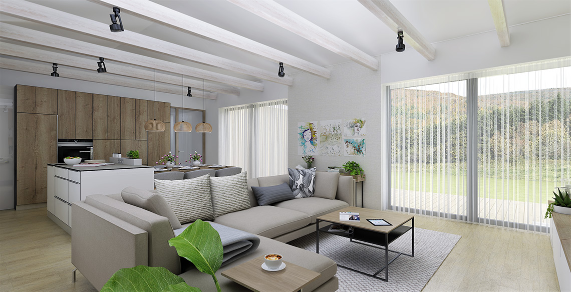 Návrh obývacího pokoje s kuchyní – společný obytný prostor je rozdělen na zóny kuchyně, jídelny a obývací část