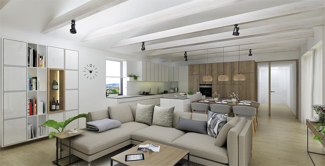 Součástí obývacího pokoje je nástěnná knihovna s příručním barem