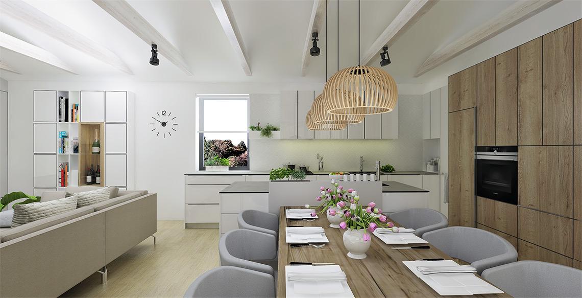 Jídelní část je srdcem místnosti, dřevěný stůl pro 6 osob je dostatečně velký pro rodinné stolování, závěsné osvětlení je dominantním svítidlem v místnosti