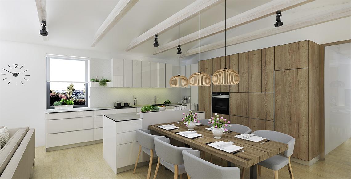 Kuchyňský kout s jídelnou – vysoký dřevěný blok na spotřebiče zahrnuje vestavnou ledničku, vestavný mrazák, troubu a velkou kapacitu úložných prostor, zajišťuje funkci prostorné spížní skříně