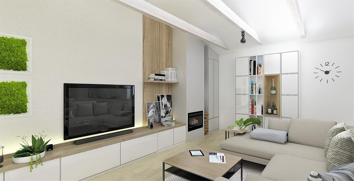 Obývací pokoj – v domě v blízkosti Beskyd nesmí chybět krb, TV stěna je jednoduchá, nízké skříňky pouze na nezbytnou elektroniku a drobné ukládání