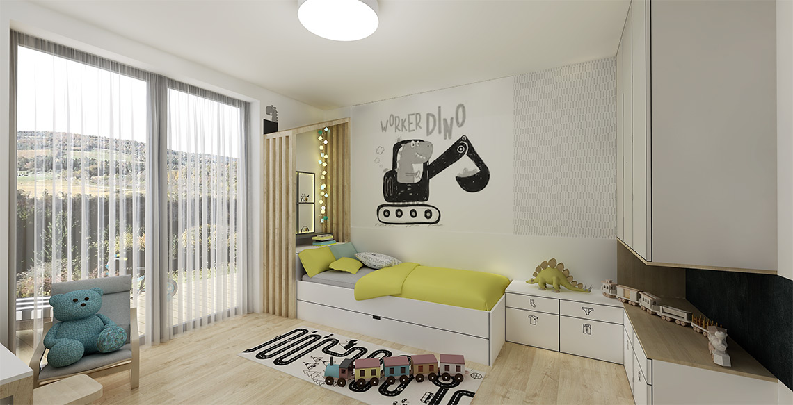 Dětský pokoj má základ v podobných neutrálních materiálech nábytku, je pro chlapečka v předškolním věku, tomu odpovídají použité dekorace