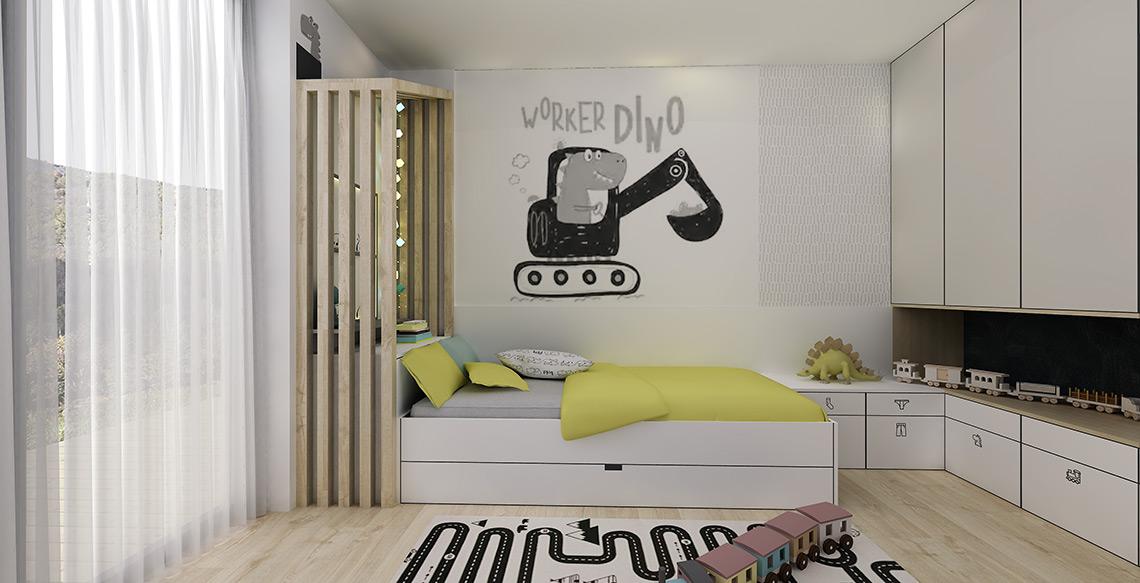 Dětský pokojíček – výrazná černobílá tapeta je na zakázku, další tapety s drobným černobílým vzorem jsou použity také na dalších stěnách