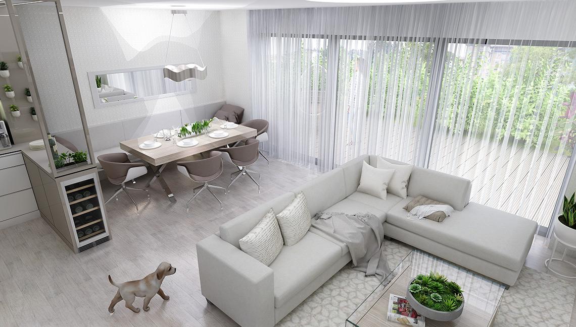 Obývací pokoj s kuchyní – developerský projekt řadových rodinných domů