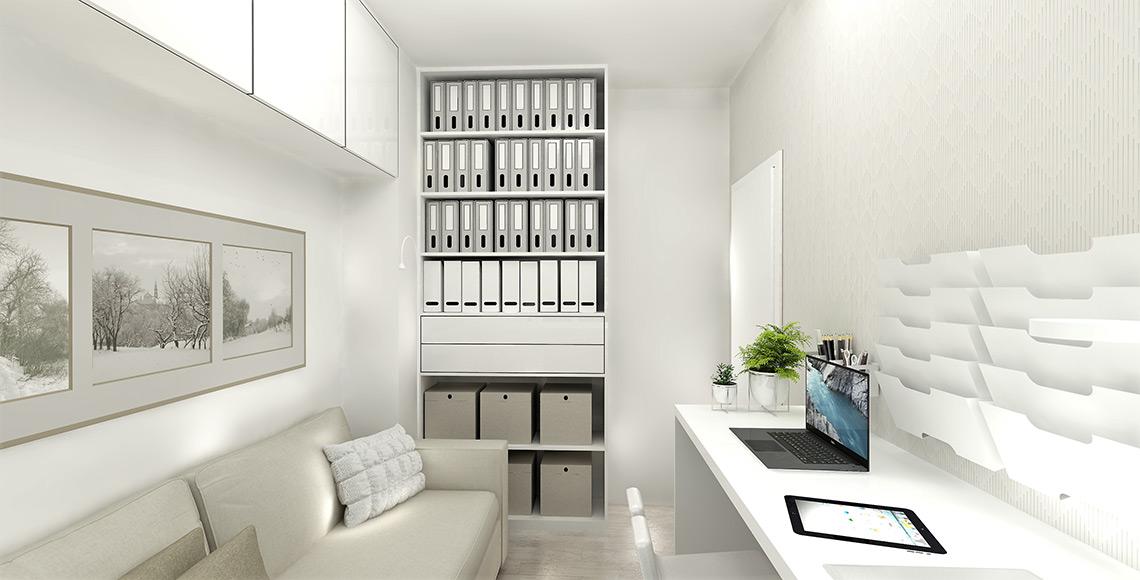 Pracovna – velká skříň na šanony musí pojmout veškerou dokumentaci, na stěně je opět tapeta s drobným vzorem