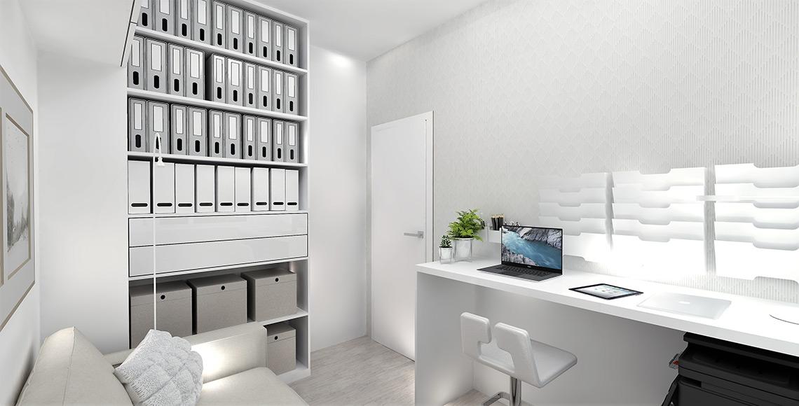 Pracovna – dispozice všech prvků je spočítána na centimetry, aby místnost pojala vše, co si majitelé přáli a zároveň byly zachovány všechny průchozí zóny