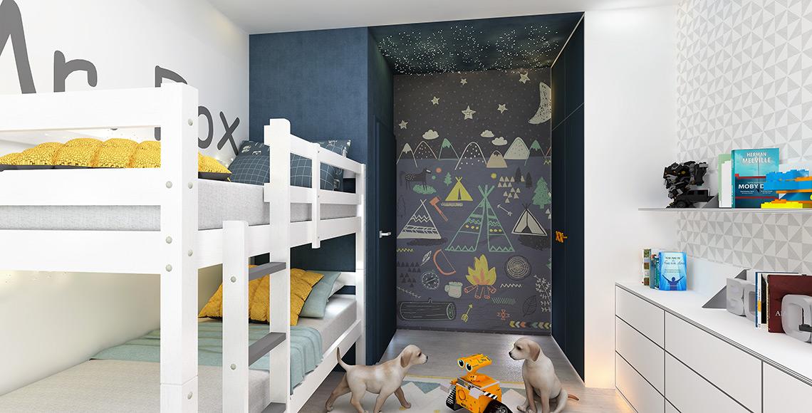 Dětský pokoj pro dva kluky mladšího školního věku má výraznou grafiku při vstupu – je to obrazová vliesová tapeta značky Eijffinger