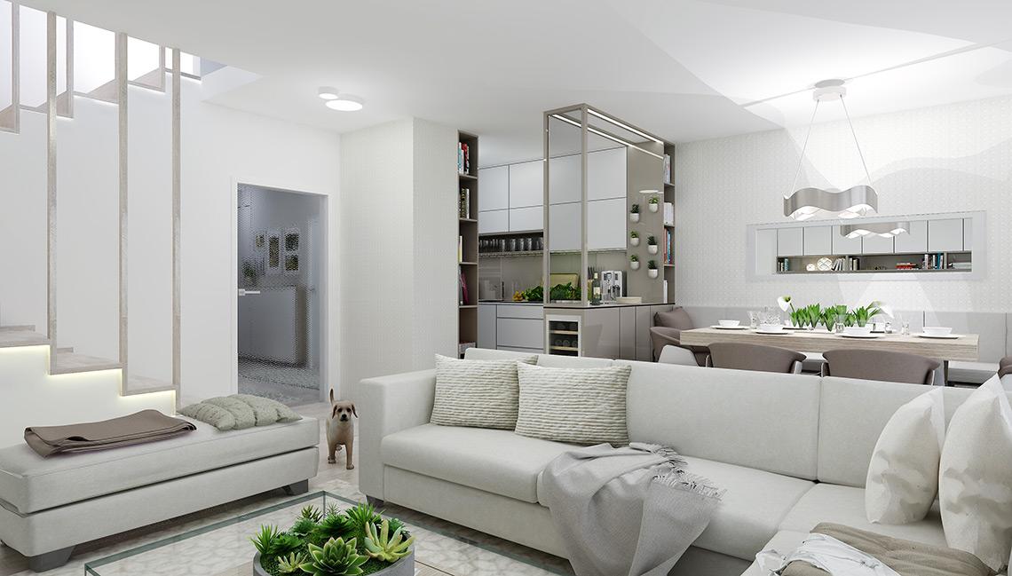 Návrh obývacího pokoje s kuchyní – hlavní materiálovou kombinací je bílý mat a kávový lesk na nábytku