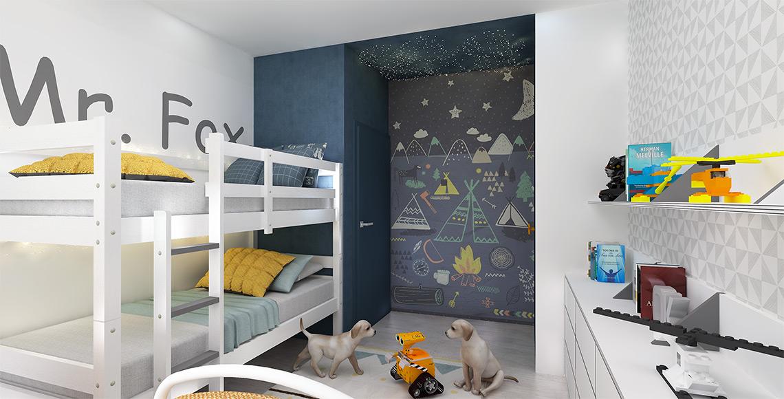 Pokojíček -patrová postel je zde pouze na přechodnou dobu, dokud budou kluci chtít společný pokoj, v domě je další dětský pokoj, který zatím slouží jako herna.