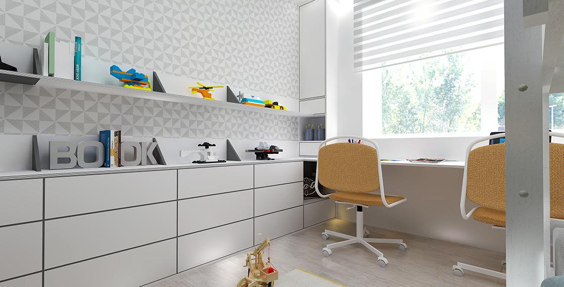 Dětský pokoj - na stěně je opět tapeta s geometrickým vzorem, nábytek je neutrální a místnost lze pomocí barevného pojetí stěn v budoucnu měnit.