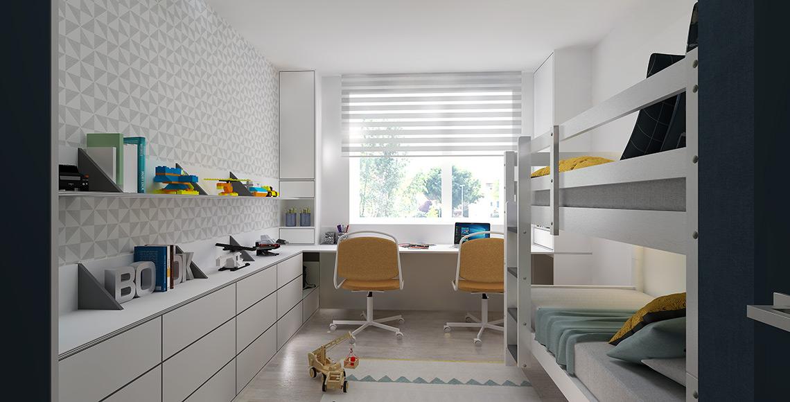 Pokoj pro kluky - pracovní stůl po celé délce stěny pod oknem poskytuje dostatek místa pro obě děti, úložné prostory po stranách jsou spravedlivě stejnoměrně rozdělené.