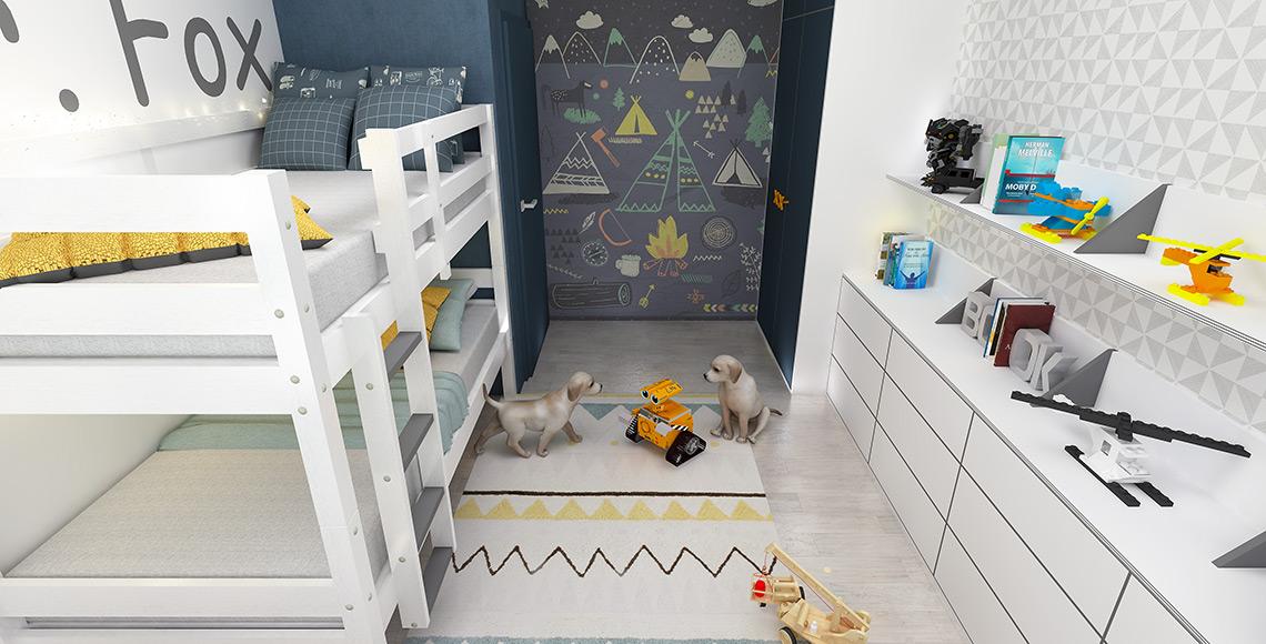 Dětský pokoj – trojúhelníčky z modré obrazové tapety se opakují i na černobílé tapetě, na dělících příčkách polic i na indiánském koberci