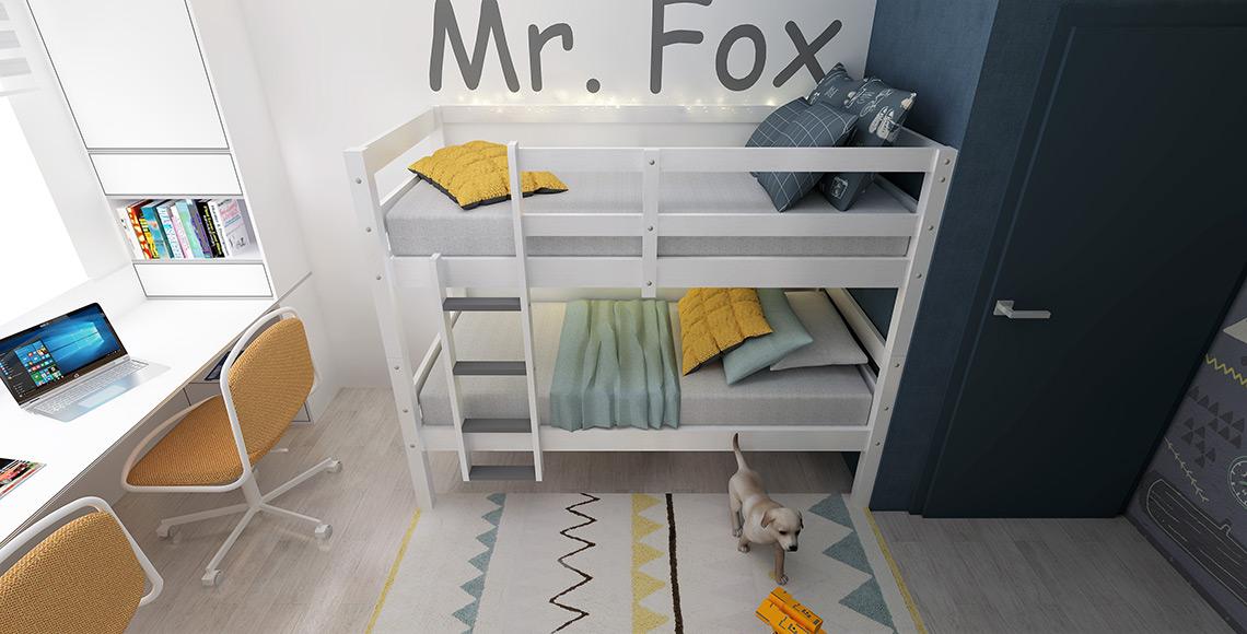 Pokojíček – patrovou postel v budoucnu nahradí klasická postel, díky tomu, že zde bude také jen jedna pracovní židle, zbude prostor i na peřináč v hlavě postele