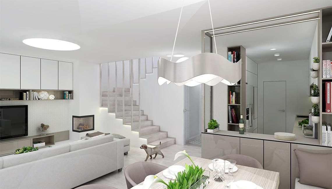 Kuchyňský kout je poměrně malý a daleko od okna, použili jsme tedy velké množství doplňkového osvětlení ve formě LED pásků, kolmý pultík odděluje kuchyň od jídelního stolu a navyšuje množství úložných prostor