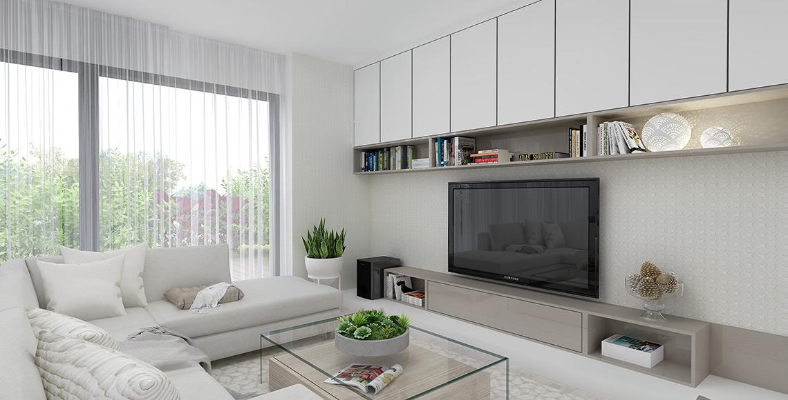 Obývací pokoj – drobný geometrický vzor na tapetě koresponduje s podobným vzorem na koberci