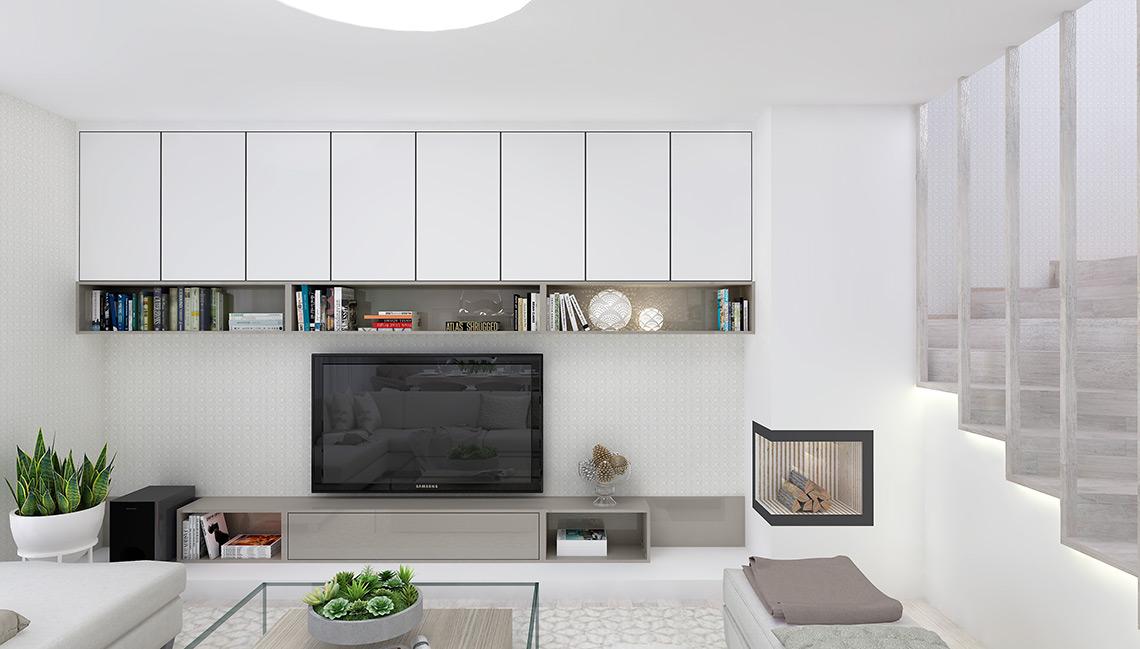 Obývací pokoj – TV stěna je propojena s krbem nízkým podiem a skříňky vytvářejí symetrický celek po celé délce stěny