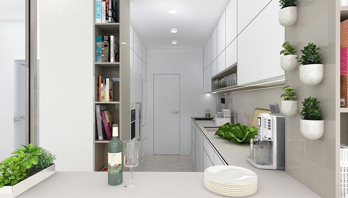 Kuchyňský kout svým nábytkovým členěním koresponduje s obývacím pokojem, součástí je velká americká lednice a také příruční komora