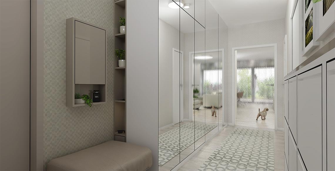 Zádveří je velmi dlouhé a úzké, světlo jsme tedy přivedli skleněnými dveřmi z obývacího pokoje a opticky prostor rozšířili zrcadlovým obkladem stěny a skříní