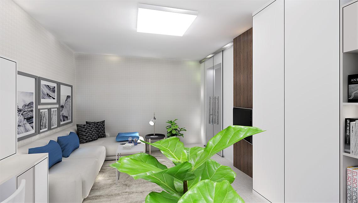 Obývací pokoj s pracovnou – světlé barvy a vertikální prvky pomáhají místnost prosvětlit a opticky zvednout nízký strop