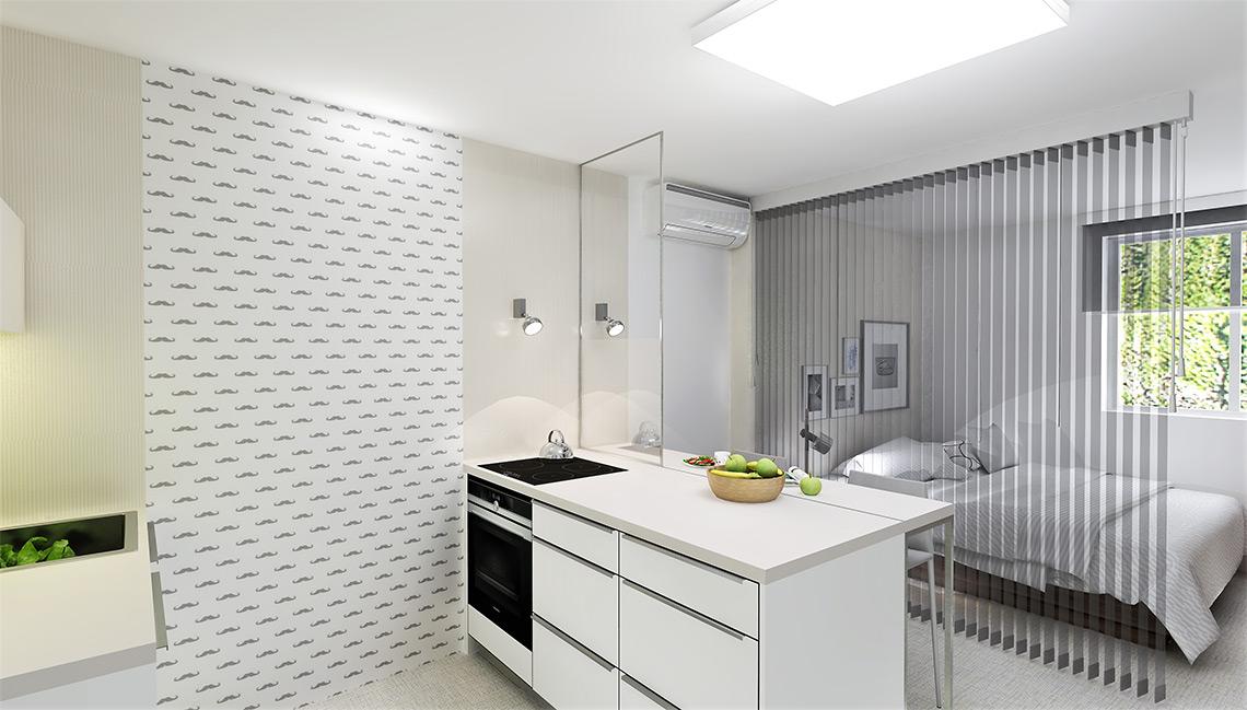 V kuchyni je také dřez s myčkou, stěny jsou z praktických důvodů obloženy deskou, z optických důvodů je zde opět vertikální členění