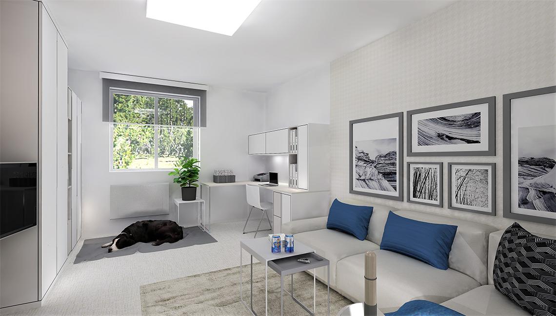 Obývací pokoj s pracovnou – na podlaze je ve všech místnostech vinyl v metráži, který je měkký na došlap, praktický na údržbu a rychlý na pokládku