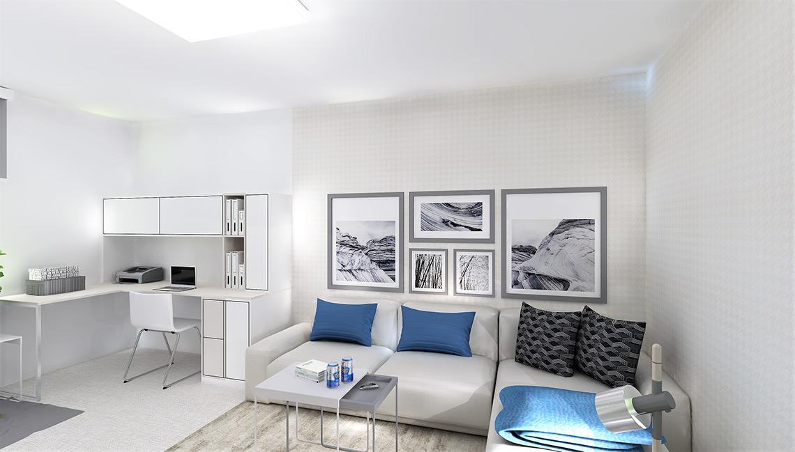 Obývací pokoj s pracovním koutem je materiálově neutrální, výrazné jsou pouze doplňky