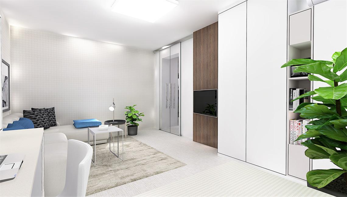 Obývací pokoj – vysoké šatní skříně poskytují dostatek úložného prostoru, TV zavěšená na odsazené desce schová veškerou kabeláž