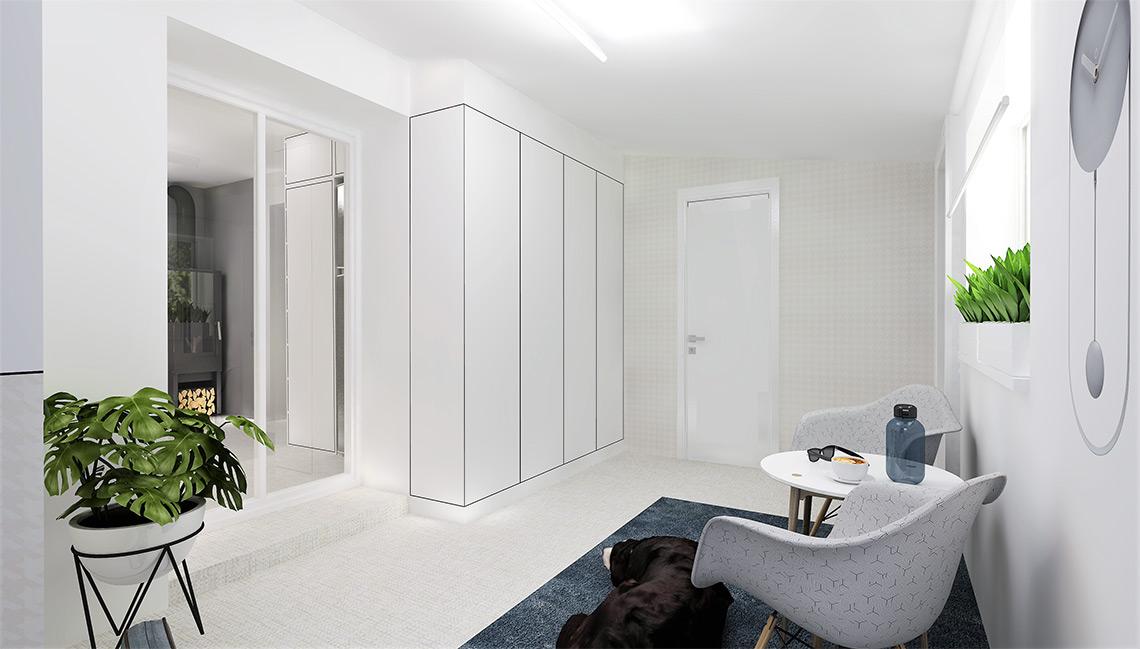 Veranda poskytuje světlo kuchyni díky probouranému průchodu s francouzskými dveřmi, které v zimě nepustí teplo z kamen. Šatní skříň vlevo vzadu je falešná, ukrývá průchod do spíže, abychom opticky prostor vyčistili