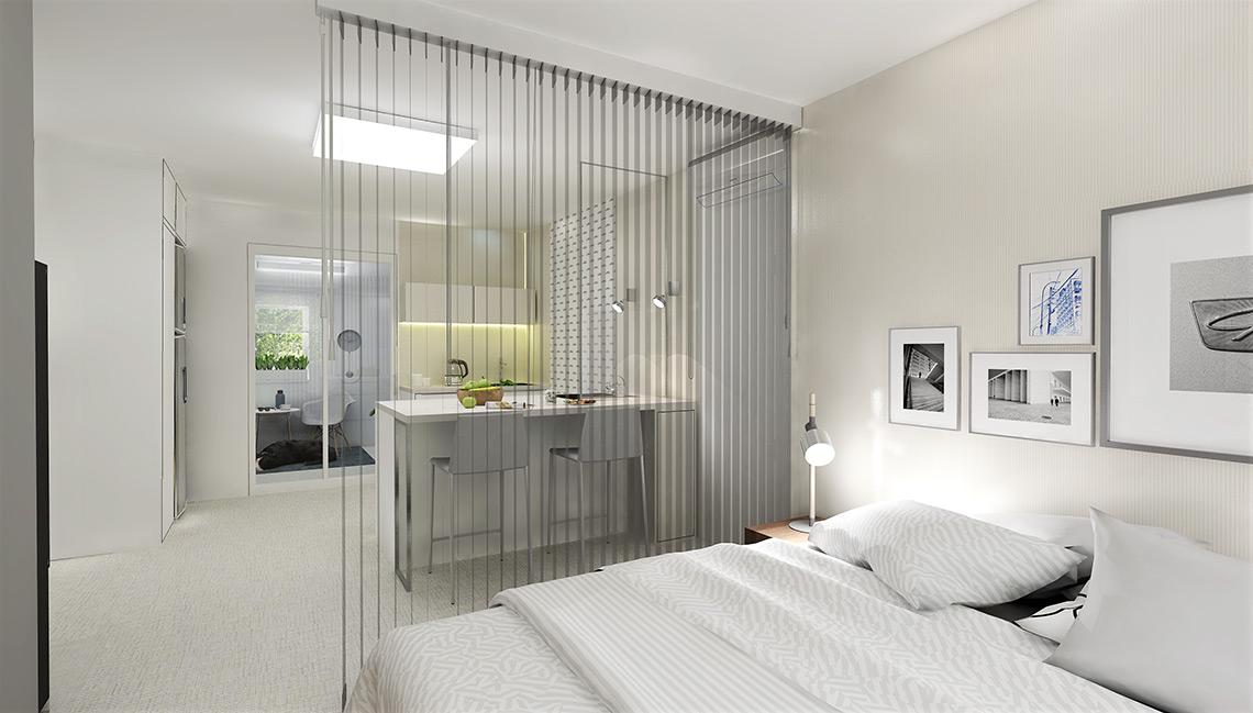 Kuchyňský kout odděluje od ložnice vzdušná zástěna, která musí propouštět světlo do zbytku místnosti