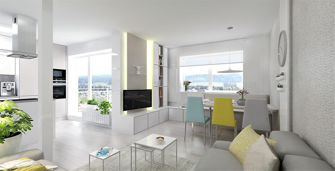 Obývací pokoj s jídelnou – jemné odstíny nábytku navazují na již hotovou kuchyň