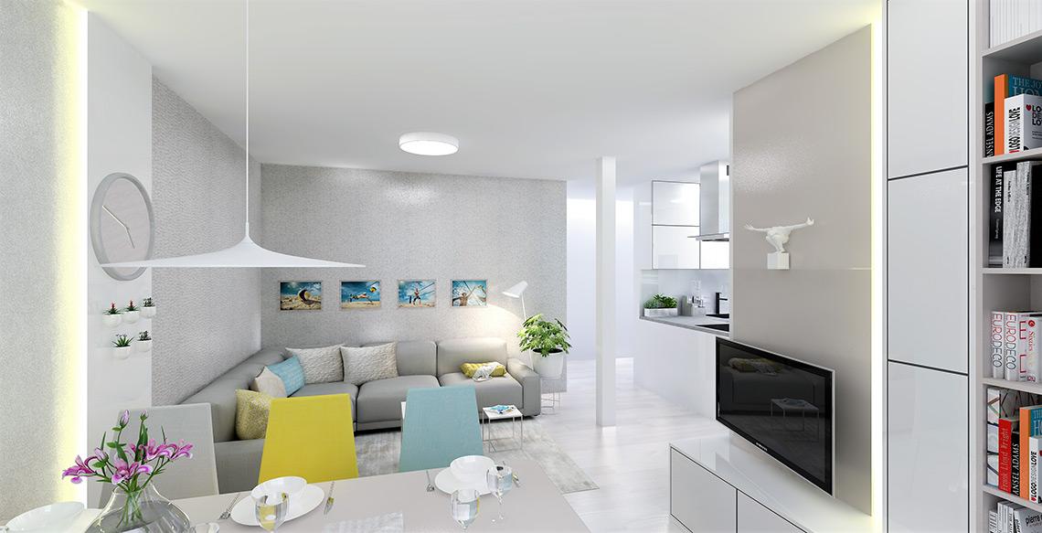 Obývací pokoj s jídelnou – dispoziční řešení je netradiční – jídelní stůl je spojen s TV koutkem, protože velkou pohovku bylo zapotřebí umístit do prostornější části místnosti
