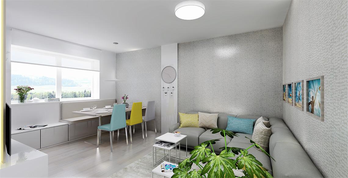 Obývací pokoj s jídelnou – abychom ušetřili místo u jídelního stolu pro odsouvání židlí, je pod oknem pohodlná lavice a odsouvají se pouze barevné židle