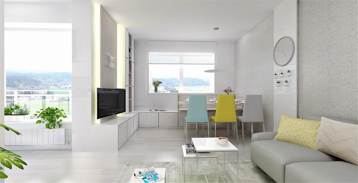 Obývací pokoj s jídelnou – strukturální tapety zútulňují celou obývací část, metalické odlesky vyniknou při nasvícení dělícího panelu, na kterém jsou zavěšeny hodiny