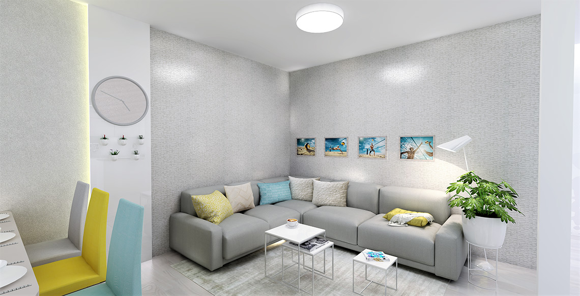 Obývací pokoj – celá pětičlenná rodina je sportovně založená (volejbal), neutrální základ celého prostoru oživují kromě tapet také pastelové židle a doplňky,
