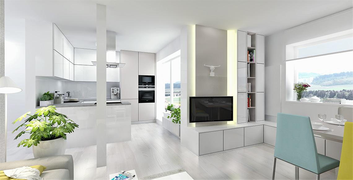 Obývací pokoj s jídelnou jsme materiálově sjednotili se stávající kuchyní a díky světlým barvám a velkým oknům je prostor velmi vzdušný