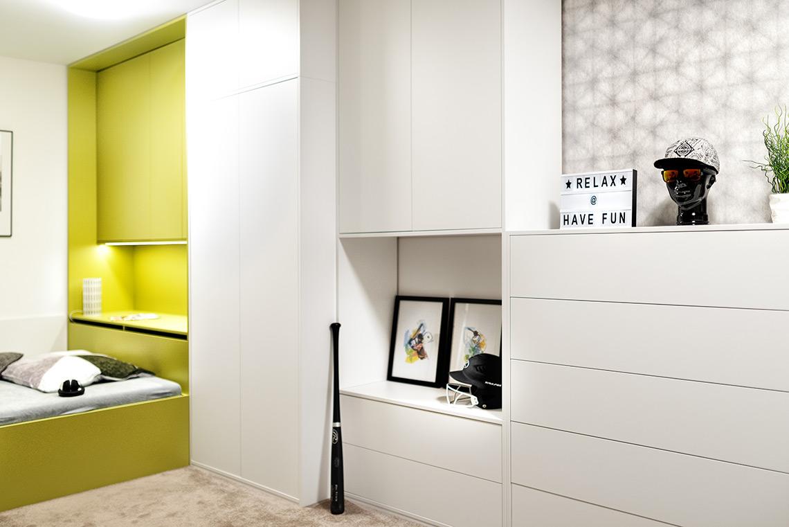 Studentský pokoj – šatní skříně, komoda a úložná sestava