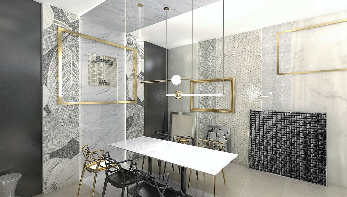 Luxusní showroom obkladů a dlažeb – VIP zasedací místnost, prezentace luxusních kolekcí